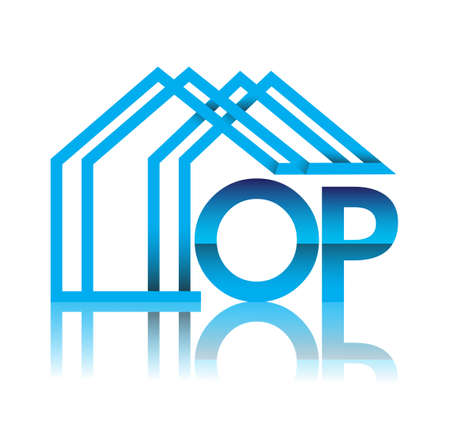 initial logo OP with house icon, business logo and property developer.