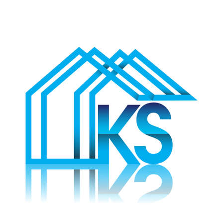initial logo KS with house icon, business logo and property developer.