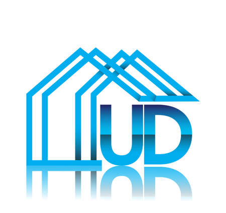 initial logo UD with house icon, business logo and property developer.
