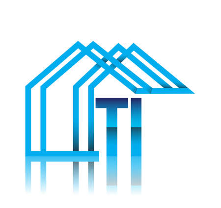 initial logo TI with house icon, business logo and property developer.