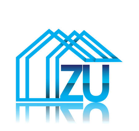 initial logo ZU with house icon, business logo and property developer.