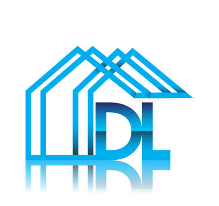 initial logo DL with house icon, business logo and property developer.