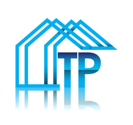 initial logo TP with house icon, business logo and property developer.
