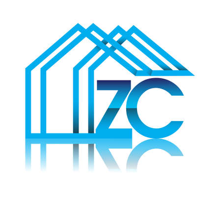 initial logo ZC with house icon, business logo and property developer.