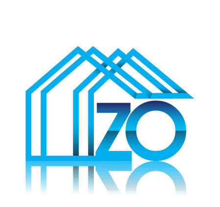 initial logo ZO with house icon, business logo and property developer. Logo
