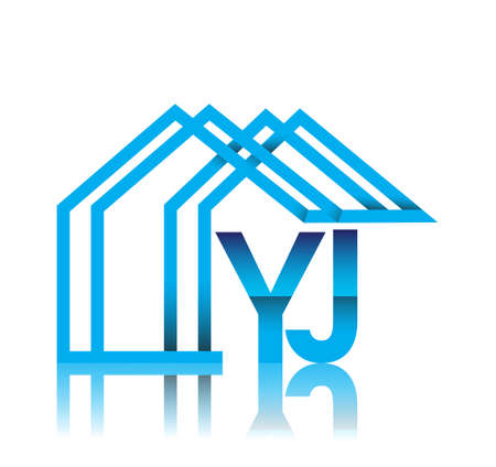 initial logo YJ with house icon, business logo and property developer.