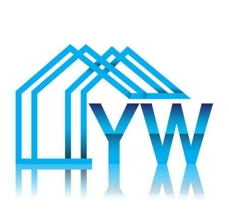 initial logo YW with house icon, business logo and property developer.