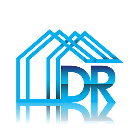 initial logo DR with house icon, business logo and property developer.