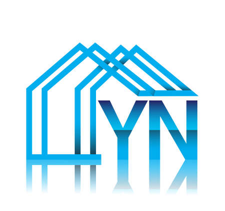 initial logo YN with house icon, business logo and property developer.