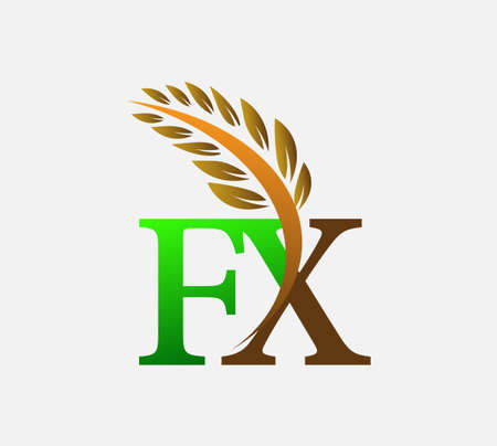 initial letter logo FX, Agriculture wheat Logo Template vector icon design colored green and brown.