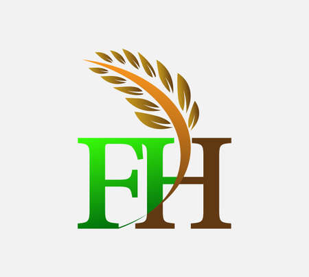 initial letter logo FH, Agriculture wheat Logo Template vector icon design colored green and brown.