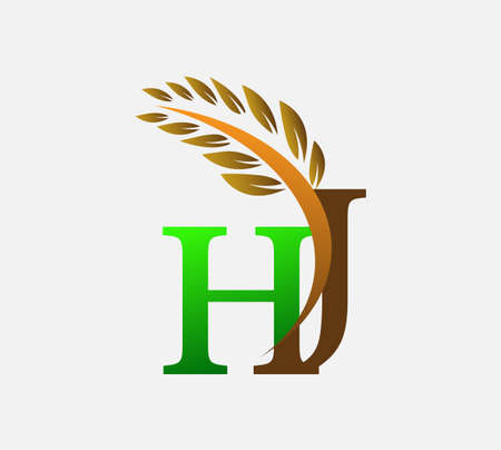 initial letter logo HJ, Agriculture wheat Logo Template vector icon design colored green and brown.