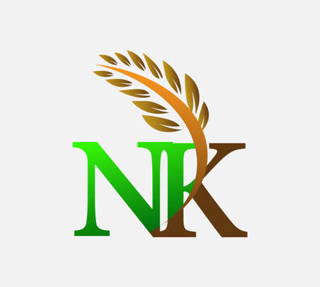 initial letter logo NK, Agriculture wheat Logo Template vector icon design colored green and brown.