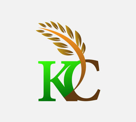 initial letter logo KC, Agriculture wheat Logo Template vector icon design colored green and brown.
