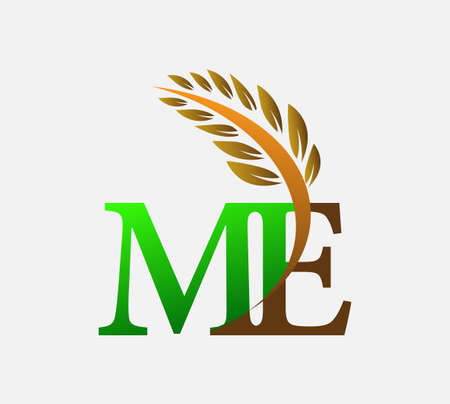 initial letter logo ME, Agriculture wheat Logo Template vector icon design colored green and brown. Ilustração
