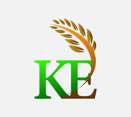 initial letter logo KE, Agriculture wheat Logo Template vector icon design colored green and brown. Ilustração