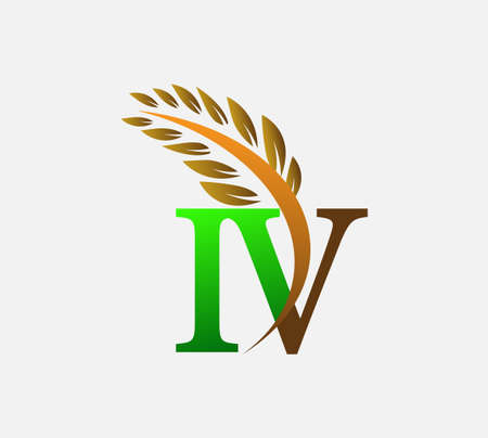 initial letter logo IV, Agriculture wheat Logo Template vector icon design colored green and brown. Ilustração