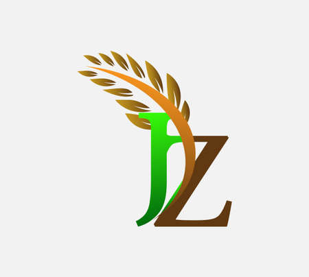 initial letter logo JZ, Agriculture wheat Logo Template vector icon design colored green and brown.