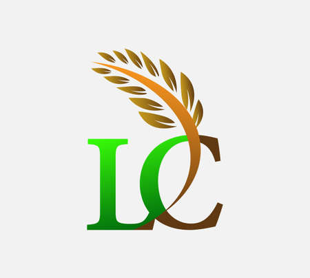 initial letter logo LC, Agriculture wheat Logo Template vector icon design colored green and brown. Ilustração
