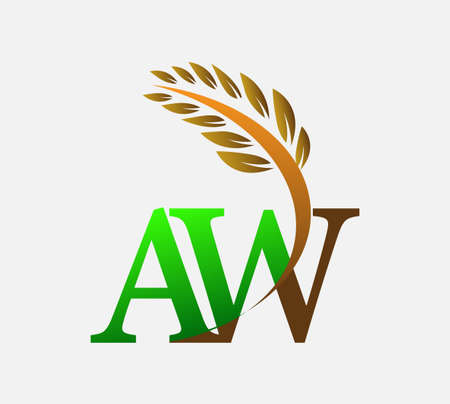 initial letter logo AW, Agriculture wheat Logo Template vector icon design colored green and brown. Ilustração