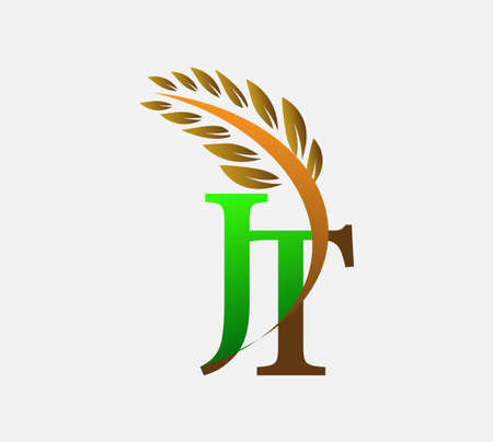 initial letter logo JT, Agriculture wheat Logo Template vector icon design colored green and brown.