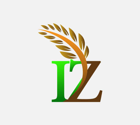 initial letter logo IZ, Agriculture wheat Logo Template vector icon design colored green and brown.