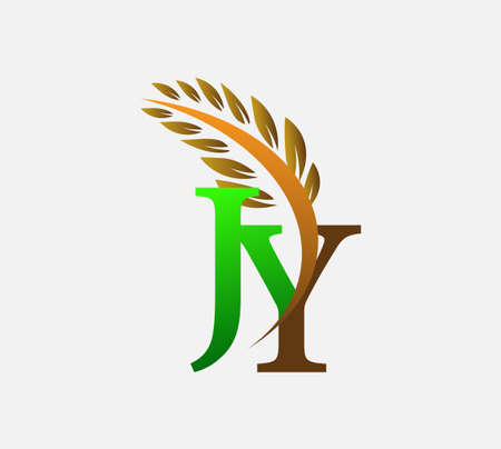 initial letter logo JY, Agriculture wheat Logo Template vector icon design colored green and brown.