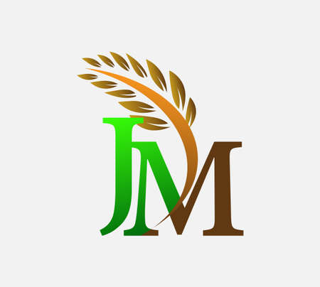initial letter logo JM, Agriculture wheat Logo Template vector icon design colored green and brown.