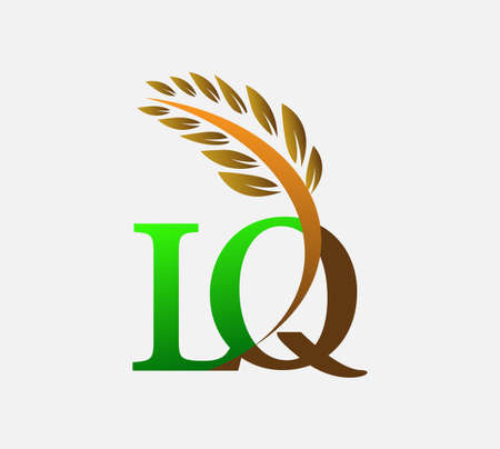 initial letter logo LQ, Agriculture wheat Logo Template vector icon design colored green and brown. Ilustração