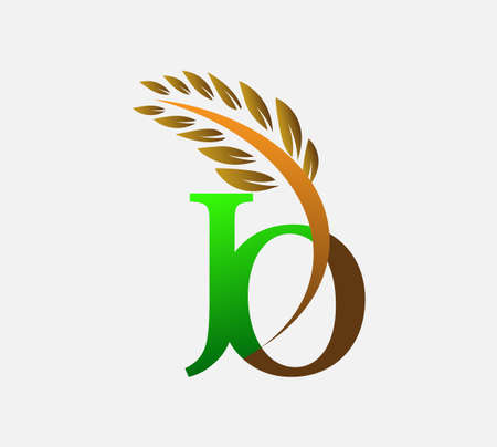 initial letter logo JO, Agriculture wheat Logo Template vector icon design colored green and brown. Ilustração