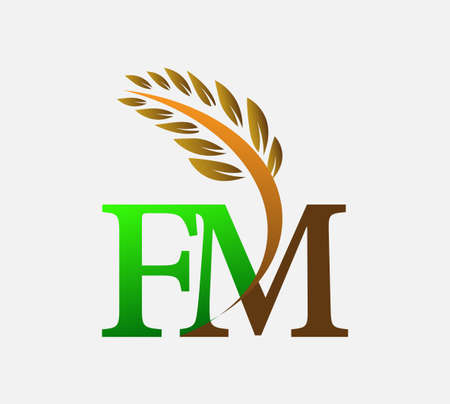 initial letter logo FM, Agriculture wheat Logo Template vector icon design colored green and brown.