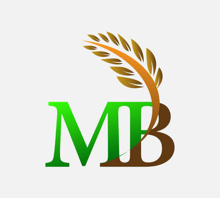 initial letter logo MB, Agriculture wheat Logo Template vector icon design colored green and brown.