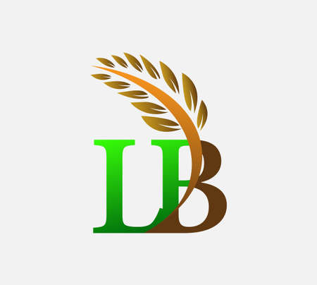 initial letter logo LB, Agriculture wheat Logo Template vector icon design colored green and brown.