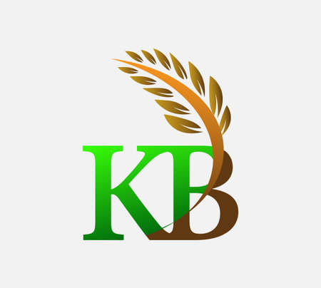 initial letter logo KB, Agriculture wheat Logo Template vector icon design colored green and brown.