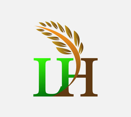 initial letter logo LH, Agriculture wheat Logo Template vector icon design colored green and brown.