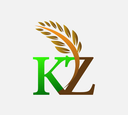 initial letter logo KZ, Agriculture wheat Logo Template vector icon design colored green and brown.