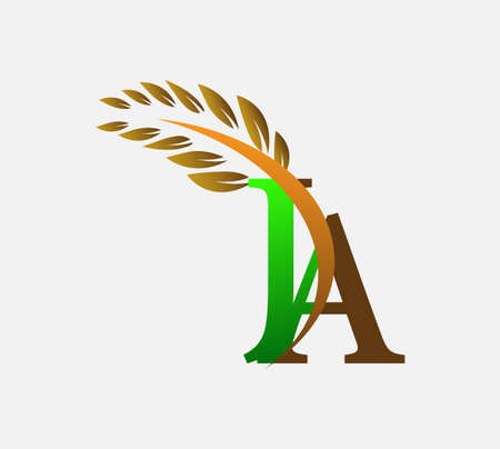 initial letter logo JA, Agriculture wheat Logo Template vector icon design colored green and brown. Ilustração