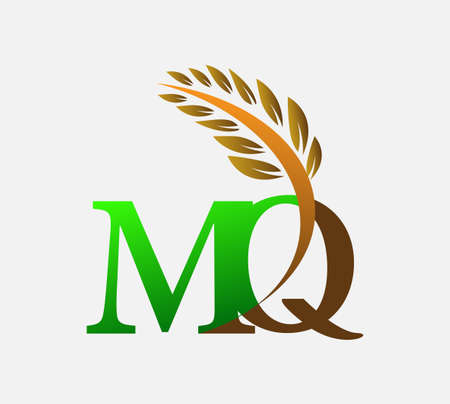 initial letter logo MQ, Agriculture wheat Logo Template vector icon design colored green and brown.