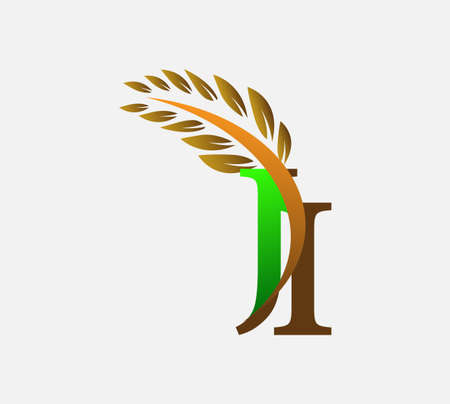 initial letter logo JI, Agriculture wheat Logo Template vector icon design colored green and brown. Ilustração