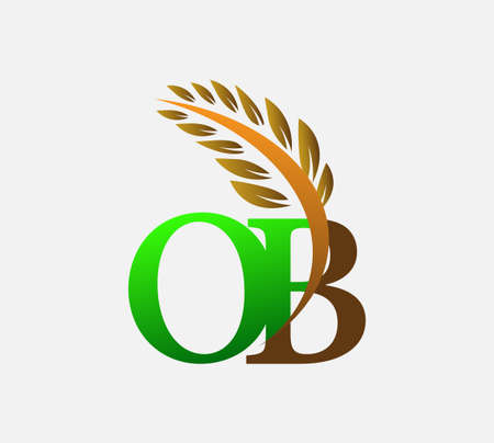 initial letter logo OB, Agriculture wheat Logo Template vector icon design colored green and brown.