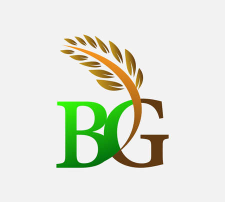 initial letter logo BG, Agriculture wheat Logo Template vector icon design colored green and brown.