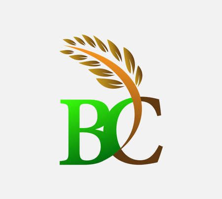 initial letter logo BC, Agriculture wheat Logo Template vector icon design colored green and brown. Ilustração