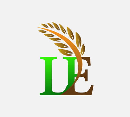 initial letter logo LE, Agriculture wheat Logo Template vector icon design colored green and brown.