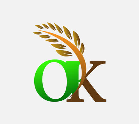 initial letter logo OK, Agriculture wheat Logo Template vector icon design colored green and brown.