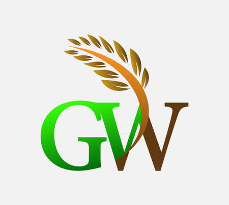 initial letter logo GW, Agriculture wheat Logo Template vector icon design colored green and brown.