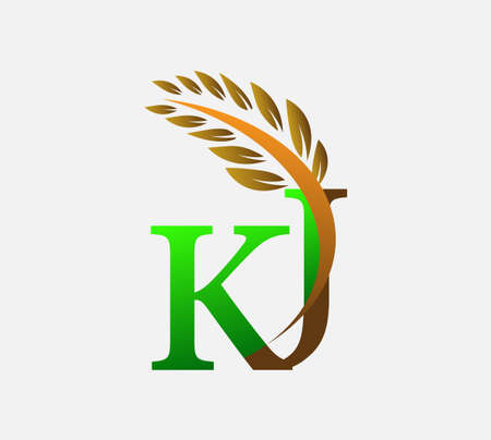 initial letter logo KJ, Agriculture wheat Logo Template vector icon design colored green and brown.