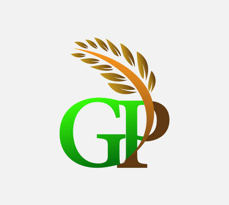 initial letter logo GP, Agriculture wheat Logo Template vector icon design colored green and brown. Ilustração