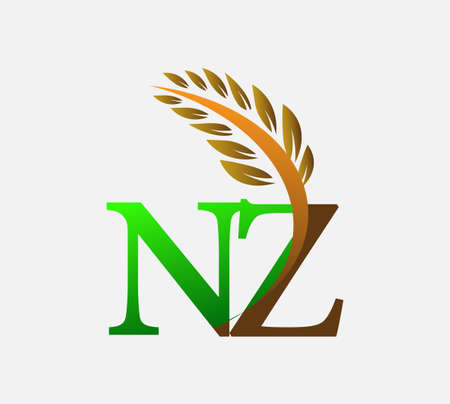 initial letter logo NZ, Agriculture wheat Logo Template vector icon design colored green and brown.