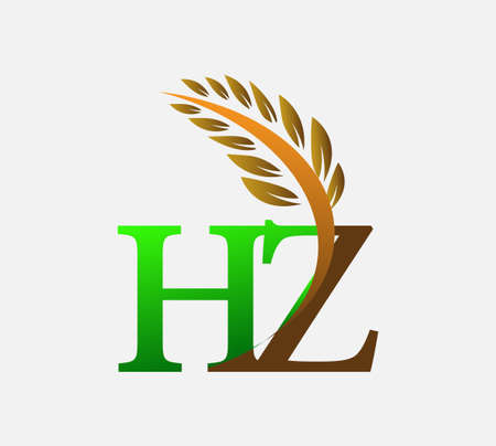 initial letter logo HZ, Agriculture wheat Logo Template vector icon design colored green and brown.