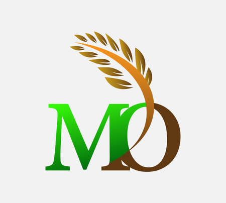 initial letter logo MO, Agriculture wheat Logo Template vector icon design colored green and brown.